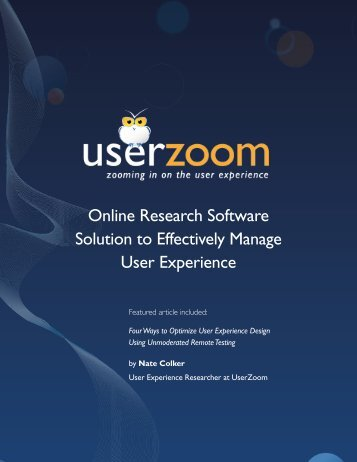 Online Research Software Solution to Effectively ... - UserZoom