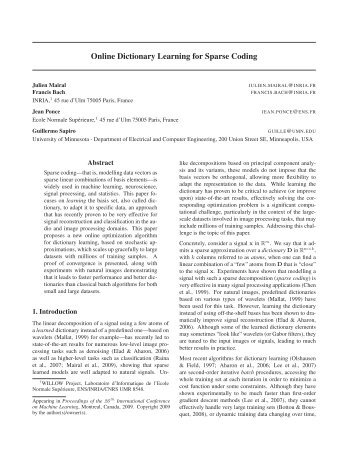 Online Dictionary Learning for Sparse Coding - Département d ...