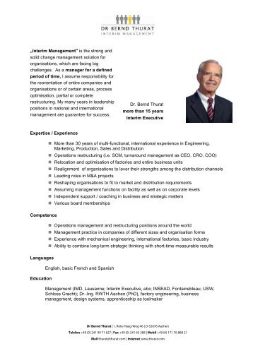 Download Experience Profile - Dr. Bernd Thurat