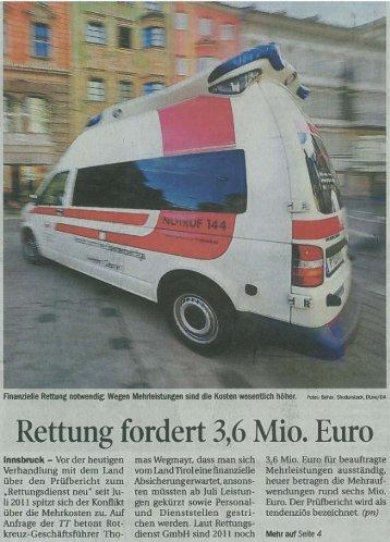 Rettung fordert 3 6 Mio. Euro - Roraco