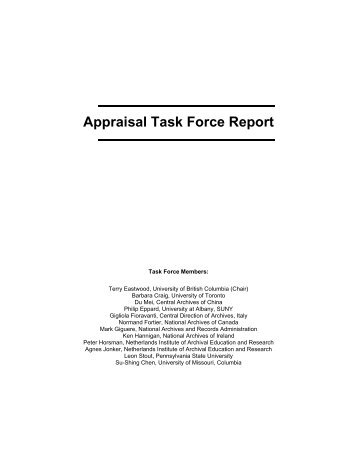 Appraisal Task Force Report - The InterPARES Project