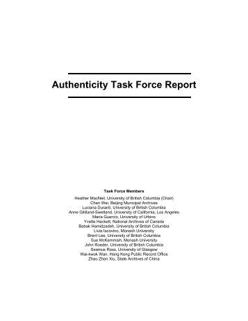 Authenticity Task Force Report - The InterPARES Project