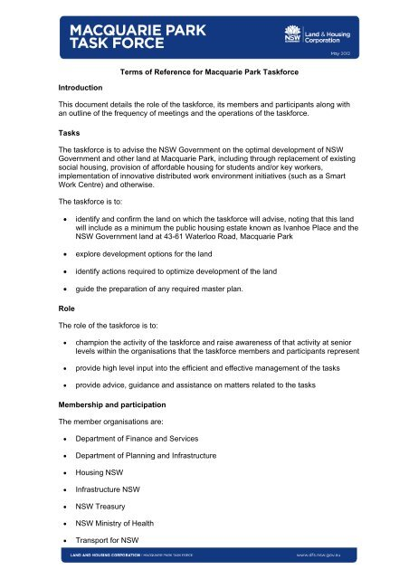 Macquarie Park Task Force terms of reference - NSW