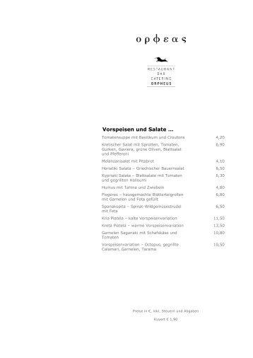 Vorspeisen und Salate … - Das Orpheus