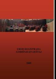 Godišnji izvještaj Ureda registrara 2009 - Ured registrara