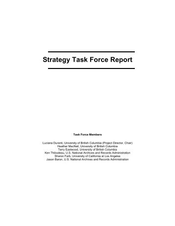 Strategy Task Force Report - The InterPARES Project