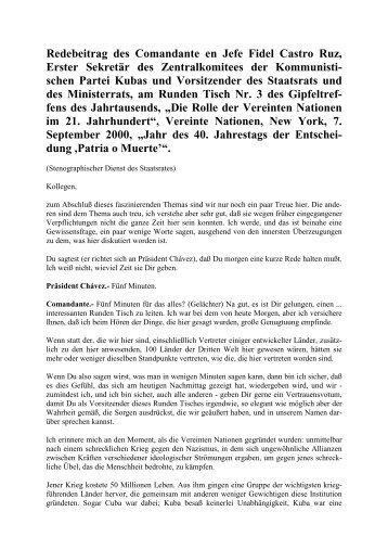 Redebeitrag des Comandante en Jefe Fidel Castro Ruz,  Erster ...