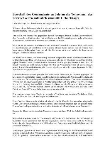Botschaft des Comandante  en Jefe an die Teilnehmer der ...