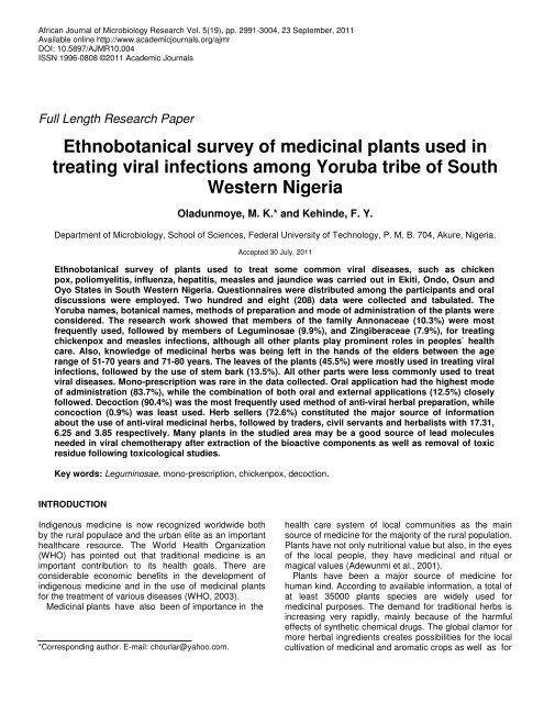 Ethnobotanical survey of medicinal plants used in treating viral