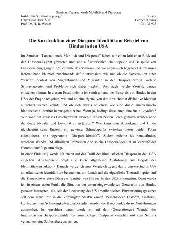 Die Konstruktion einer Diaspora-Identität am Beispiel von Hindus in ...