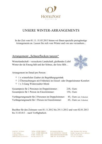 unsere winter-arrangements - Hotel & Gasthof zur Post in Aschheim