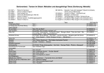 Seniorentanz / Tanzen im Sitzen: Melodien und ... - Bistum Eichstätt