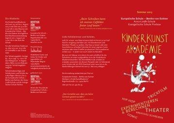 KinderKunstAkademie in den Sommerferien 2013 - Bertha-von ...