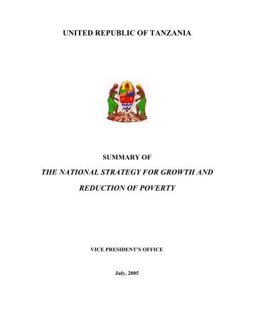 the national strategy for growth and reduction of - Tanzania