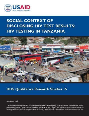 social context of disclosing hiv test results: hiv testing in tanzania