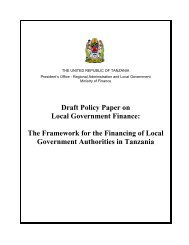 Draft Policy Paper on Local Government Finance - Tanzania ...