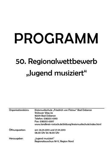 """Programmheft Regionalwettbewerb """"Jugend musiziert"""" - Landkreis ..."""