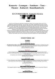 Konzerte – Lesungen – Seminare – Tanz – Theater ... - Kleine Zeitung