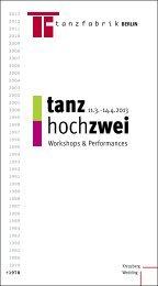 tanz hochzwei - Tanzfabrik Berlin