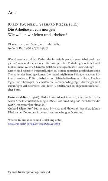 Karin Kaudelka, Gerhard Kilger (Hg.) Die Arbeitswelt von morgen ...