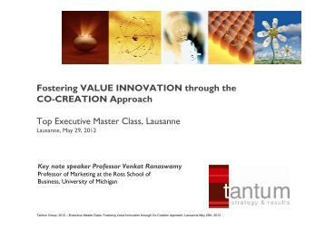 Fostering VALUE INNOVATION through the CO-CREATION ... - tantum