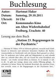 Buchlesung - Freiburger Hilfsgemeinschaft eV