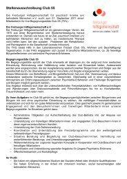 Stellenausschreibung Club 55 - Freiburger Hilfsgemeinschaft eV