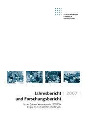 | 2007 | Jahresbericht und Forschungsbericht - Fachhochschule Mainz