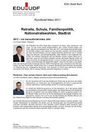 Retraite, Schule, Familienpolitik, Nationalratswahlen, Stadtrat 2011