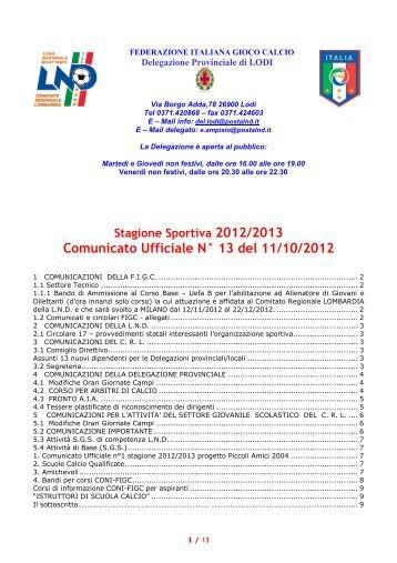 Comunicato Ufficiale N° 13 del 11/10/2012 - Realcasal