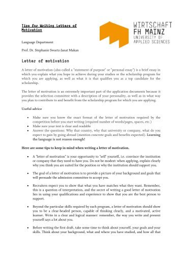 nomination letter motivation letter