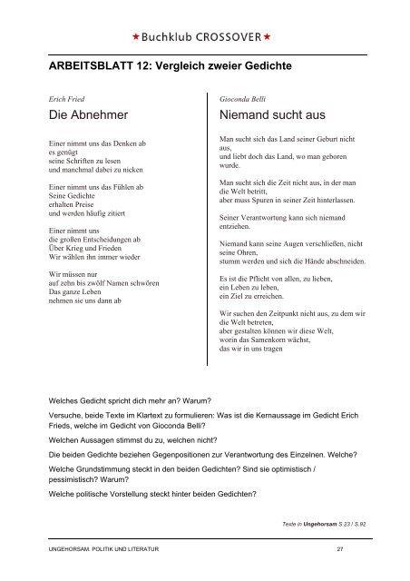 Arbeitsblatt 11 Analyse