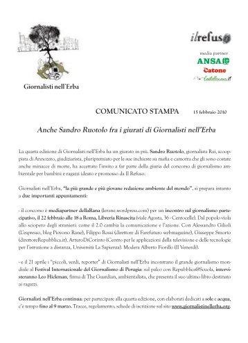COMUNICATO STAMPA Giornalisti nell'Erba Anche Sandro Ruotolo ...