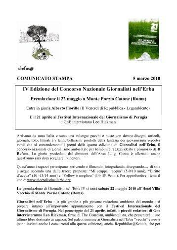 IV Edizione del Concorso Nazionale Giornalisti nell'Erba