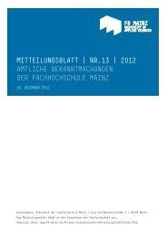 Mitteilungsblatt Nr. 13 2012 - Fachhochschule Mainz