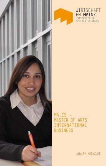 ma.ib – master of arts international business - Fachhochschule Mainz