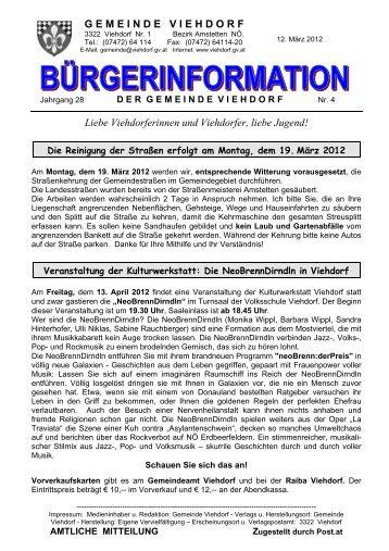 Spielplan U 14 – Frühjahr 2012 - Viehdorf
