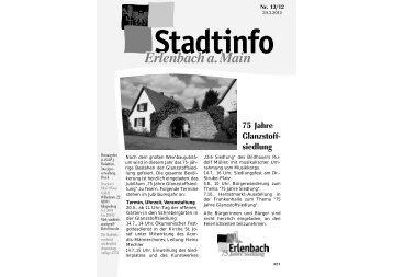 75 Jahre Glanzstoff- siedlung - Erlenbach a.Main