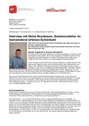Interview mit Heinz Nussbaum, Artikel am moossee ... - SP Urtenen