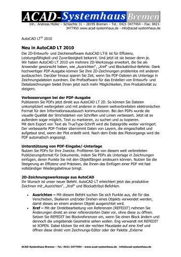Neu in AutoCAD LT 2010 - ACAD-Systemhaus Bremen