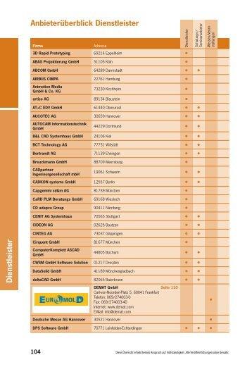 Anbieterverzeichnis Dienstleister - Digital Engineering Solutions 2012