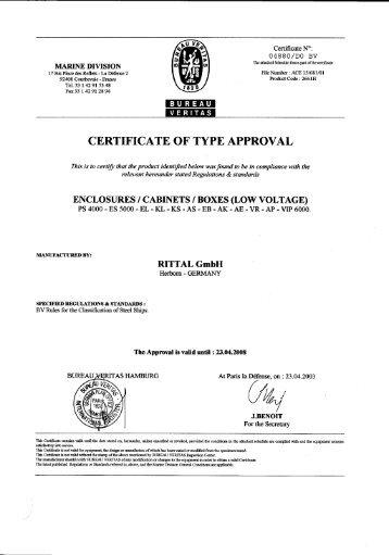 Certificate N°: 0 4 8 8 0 /DO BV - Rittal