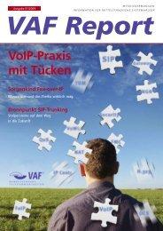 VAF Report 01-2009 - VAF - Bundesverband Telekommunikation eV