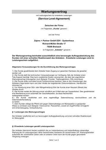 Fantastisch Wartungsvertrag Vorlage Galerie - Dokumentationsvorlage ...
