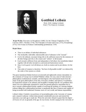 an analysis of leibnizs discourse on metaphysics Subscribet o eir executive intelligencereview eironline eironline gives subscribersone of the most valuable publicationsfor.