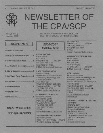Issue 2 (January, 2002) - Canadian Psychological Association