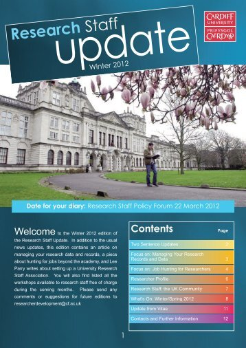 Research Staff Update - Winter 2012 - Cardiff University