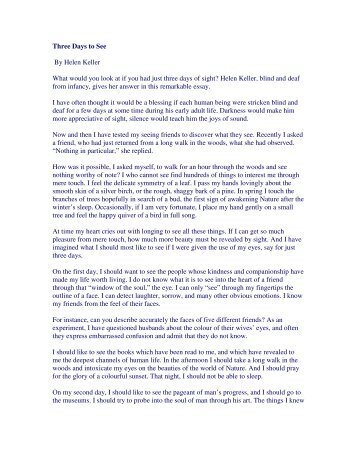 helen keller essay three days to see docoments ojazlink three days to see by helen keller essay pdf for you