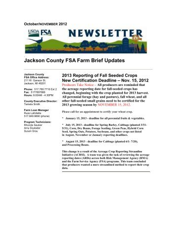 Franklin County FSA Updates - USDA Aerial Photography Field Office