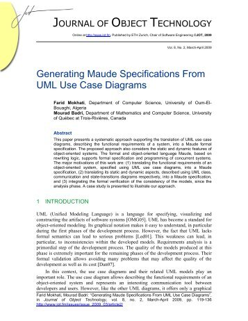 Generating Maude Specifications From UML Use Case Diagrams